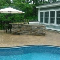 Custom Stone Masonry Grill by Pool