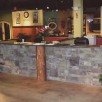 Interior stone desk area