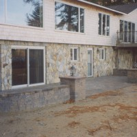 MW Masonry stone walls and patios on this Maine home