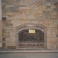 Cultured ledgestone fireplace