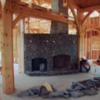 Custom stone fireplace crafted by experienced masons
