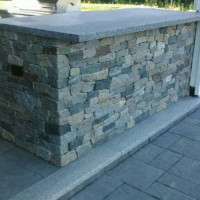 Counter in outdoor stone kitchen