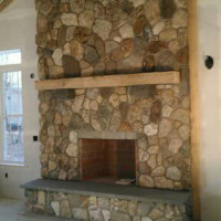 Custom stone fireplace masonry