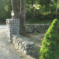 Stone Pillar and Wall along Property Line