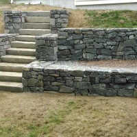 Stone steps with retaining wall