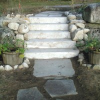 Outdoor stone steps and walkway